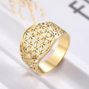 Stainless Steel Viking FLOWER OF LIFE Ring