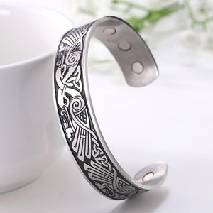 Engraved Viking Phoenix Totem & Celtic Knot MAGNETIC HEALTH Stainless Steel