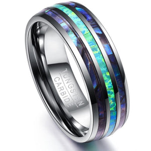 Luxury Silver Tungsten Carbide Ring with Blue Fire Opal & Abalone Shell Inlay-Sizes 5-15