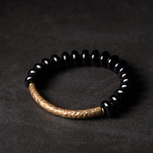 Hand Beaten Copper & Obsidian Ethnic Tibetan REPEL NEGATIVITY Bracelet