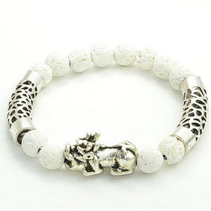 Stainless Steel  LUCKY PIXIU  & White Lava Essential Oil Diffuser Beaded Bracelet