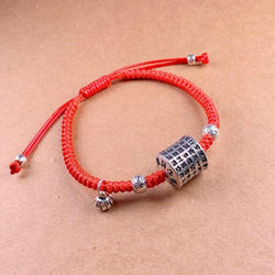 Tibetan Buddhism Sterling Silver HEART SUTRA Lucky Red Rope Bracelet