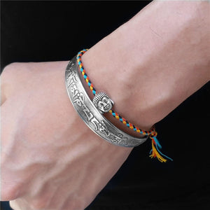 2 pc Tibetan Buddhist Braided Cotton Lucky Knot Rope Bracelet & OM MANTRA Bangle Set