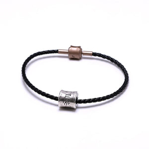 Tibetan Ethnic Braided Leather Bracelet with Pure Silver  Om Mani Padme Hum Charm