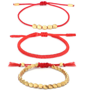 Tibetan Handmade Lucky Knot 'BE SUCCESSFUL' Copper & Red Rope 3 /pc Bracelet Set