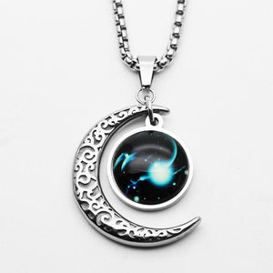 Titanium steel  Astrological Zodiac Sign Moon Pendant Necklace