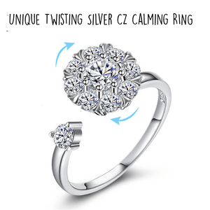 Unique 925 Sterling Silver TWIRLING & CALMING CZ Ring