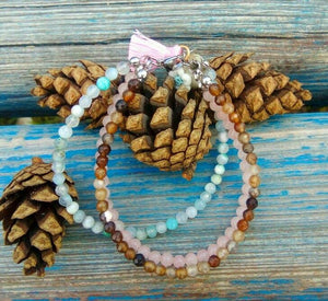 Rose Quartz & Agate EMOTIONAL HEALING -3 Strand Stone Blend Bracelet