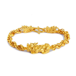 24K Gold Plated  PIXIU & DRAGONS Men's WEALTH Bracelet