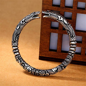 Thai Silver FORTUNE & POWER Men's Double-Headed Dragon Bangle