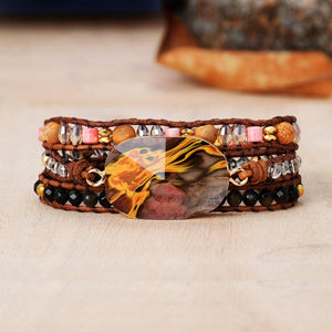 Natural Volcano Cherry Quartz HEALING 3 Layer Wrap Bracelet