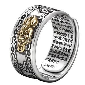 S990 Pure Silver Feng Shui LUCKY PIXIU  with Heart Sutra Ring