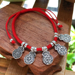 Sterling Silver & Red Rope-The 5 Elements-BALANCE Bracelet
