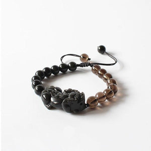 Black Obsidian PIXIU With Ice Obsidian Beads GOOD FORTUNE Bracelet