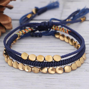 Tibetan Handmade Lucky Knot 'BE THANKFUL' Copper & Blue Rope 3 /pc Bracelet Set