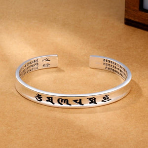 THAI SILVER 6 Syllable TIBETAN MANTRA & HEART SUTRA Cuff Bangle