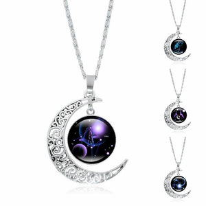 Astrological Sign Moon Pendant Necklace