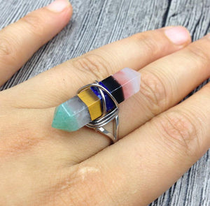 Unique 7 Layered Natural Chakra Stone Point Wire Wrap Ring
