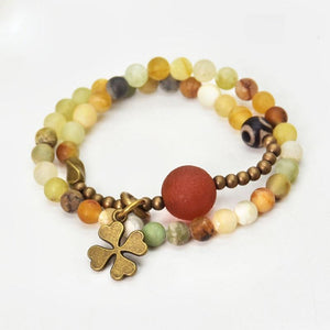 Yellow Jade & Tibetan Dzi Bead  Lucky 4 Leaf Clover OPTIMISM Bracelet