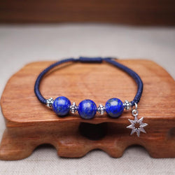 Sterling Silver & Lapis Lazuli Stone SELF EXPRESSION Red Rope Bracelet