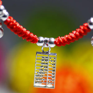 Sterling Silver ABACUS & MONEY BAGS Red Rope Bracelet