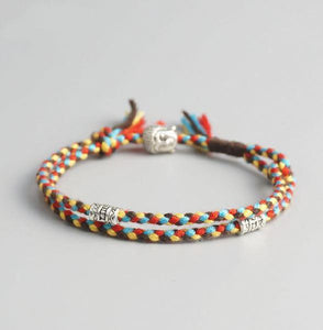 Tibetan Buddhist Rope Bracelet/Anklet with BUDDHA & Accents