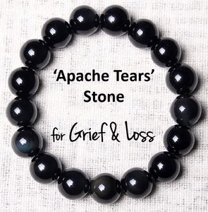 Natural Apache Tears Stone  'GRIEF & LOSS'   Bracelet