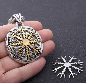 Stainless steel Viking Shield Necklace  with Interchangeable  Gold & Silver Helm of Awe