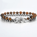 Natural Tiger Eye  & Steel  Link 2 pc Men's Lobster COURAGE  Bracelet Set