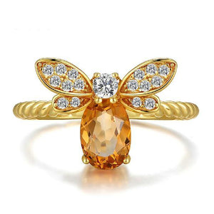 14k Gold Plated Silver CITRINE Gemstone Honey Bee WEALTH ATTRACTING Ring