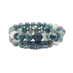 Natural Madagascar Bloodstone - 2 PC ENERGIZING & PROTECTION Bracelet Set