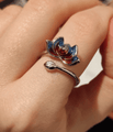 THAI SILVER Dual Colored 'PROSPERITY' Lotus Ring