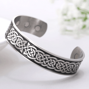 Engraved Viking & Celtic Knot MAGNETIC HEALTH Stainless Steel Bracelet-3 Styles