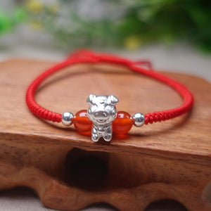 2019-The Year of the PIG! Pure 999 Silver Chinese Zodiac Animal Red Rope bracelets