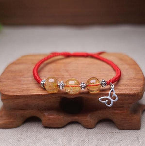 Sterling Silver CITRINE & BUTTERFLY TRANSFORMATION Red Rope Bracelet