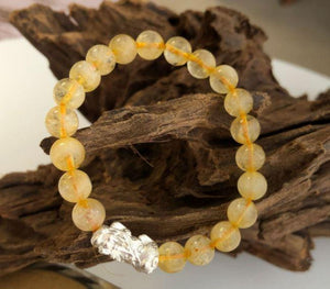 925 Sterling Silver Pixiu & AAA Quality Citrine Stone SUCCESS & POSITIVITY Bracelet