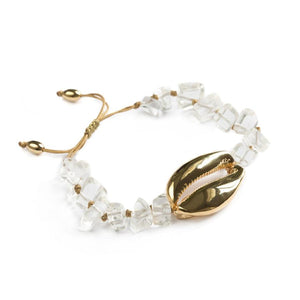 ANCIENT MONEY Natural Quartz & Gold Plated Cowry COMPASSION Bracelet