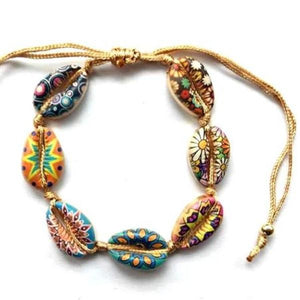 Inkjet Printed Colorful HIPPY DESIGNS  Cowry Shell Style BOHO Rope Bracelets