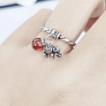 THAI SILVER Elephant & Natural Red Agate 'RELY ON ME'  Ring