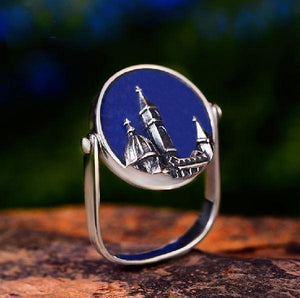 Sterling Silver& Natural Blue Aventurine Stone- Florence Cathedral Ring