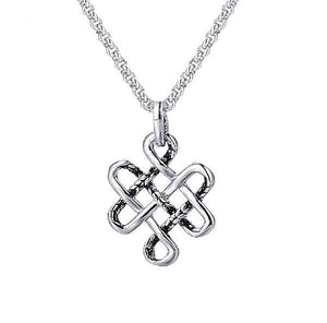 Stainless Steel  Buddhist Eternal Knot WISDOM Necklace