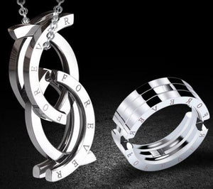 Unique Stainless Steel 'FOREVER' Kissing Fish TRANSFORMING RING to NECKLACE - Steel Chain included