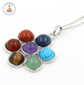 7 Chakra Natural Stone Flower Pendant Necklace ** With FREE Matching RING while stocks last!