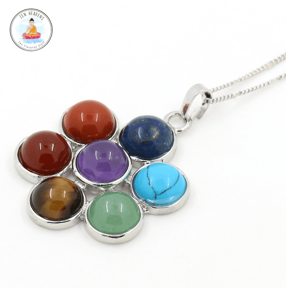 Flower Necklace ~ Natural Gemstones Chakra Necklace ~ All 7 Chakras