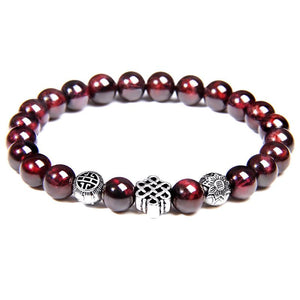 Natural Garnet Stone & Eternal Knot/Lotus SINCERITY Bracelet