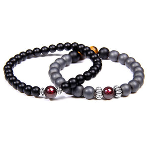 Matte Black Onyx/Hematite Stone with Garnet Stone-HONESTY  Bracelet