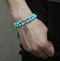 Natural Turquoise Stone Double Strand & Steel FAITH Bracelet