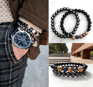 2/pc set Men's Natural Stone Grounding Bracelets