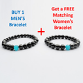 Black Magnetic Hematite Men's HEALTH & Energy Bracelet with Blue Cat's Eye Stone