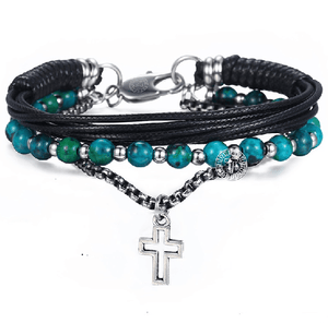 Chrysocolla Stone , Leather & Box Link  3pc  DETOX Bracelet Set